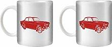 STUFF4 Tee/Kaffee Becher 350ml/2 Pack Rot/Volvo Amazon/Weißkeramik/ST10