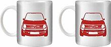 STUFF4 Tee/Kaffee Becher 350ml/2 Pack Rot/VW Golf GTI Mk1/Weißkeramik/ST10