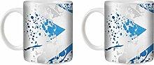 STUFF4 Tee/Kaffee Becher 350ml/2 Pack Schottland/Flagge Splat Land/Weißkeramik/ST10