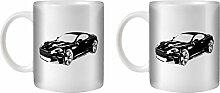 STUFF4 Tee/Kaffee Becher 350ml/2 Pack Schwarz/Aston Martin DBS/Weißkeramik/ST10