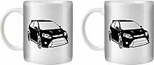 STUFF4 Tee/Kaffee Becher 350ml/2 Pack Schwarz/Focus RS Mk2/Weißkeramik/ST10
