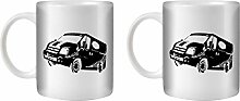 STUFF4 Tee/Kaffee Becher 350ml/2 Pack Schwarz/Ford Transit Sport/Weißkeramik/ST10