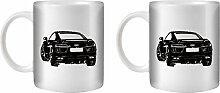 STUFF4 Tee/Kaffee Becher 350ml/2 Pack Schwarz/R8 2016/Weißkeramik/ST10