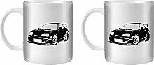 STUFF4 Tee/Kaffee Becher 350ml/2 Pack Schwarz/Toyota Supra/Weißkeramik/ST10