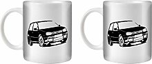 STUFF4 Tee/Kaffee Becher 350ml/2 Pack Schwarz/VW Golf GTI Mk4/Weißkeramik/ST10