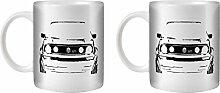 STUFF4 Tee/Kaffee Becher 350ml/2 Pack Schwarz/VW Golf GTI/Weißkeramik/ST10
