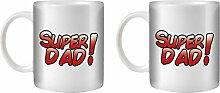 STUFF4 Tee/Kaffee Becher 350ml/2 Pack Super Dad Comic/Father's Day Gift/Weißkeramik/ST10
