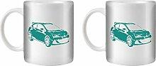 STUFF4 Tee/Kaffee Becher 350ml/2 Pack Türkis/Opel Astra OPC J/Weißkeramik/ST10