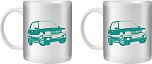 STUFF4 Tee/Kaffee Becher 350ml/2 Pack Türkis/Peugeot 205 GTI/Weißkeramik/ST10