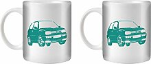STUFF4 Tee/Kaffee Becher 350ml/2 Pack Türkis/VW Golf GTI Mk3/Weißkeramik/ST10