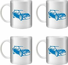 STUFF4 Tee/Kaffee Becher 350ml/4 Pack Blau/Opel Astra OPC J/Weißkeramik/ST10