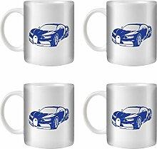 STUFF4 Tee/Kaffee Becher 350ml/4 Pack Blue/Hypercar Chiron/Weißkeramik/ST10