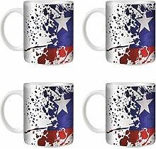 STUFF4 Tee/Kaffee Becher 350ml/4 Pack Chile/Flagge Splat Land/Weißkeramik/ST10