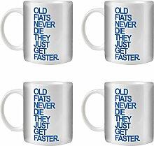 STUFF4 Tee/Kaffee Becher 350ml/4 Pack Fiat/Blue Text/Alte Autos/Weißkeramik/ST10