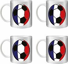 STUFF4 Tee/Kaffee Becher 350ml/4 Pack Frankreich/Französiche/Fußball Flagge/Weißkeramik/ST10