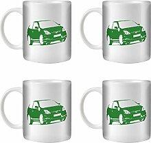 STUFF4 Tee/Kaffee Becher 350ml/4 Pack Grün/Civic Type R EP3/Weißkeramik/ST10