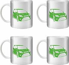 STUFF4 Tee/Kaffee Becher 350ml/4 Pack Grün/Focus RS Mk2/Weißkeramik/ST10