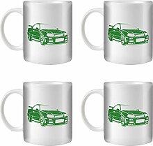 STUFF4 Tee/Kaffee Becher 350ml/4 Pack Grün/Nissan Skyline R34/Weißkeramik/ST10