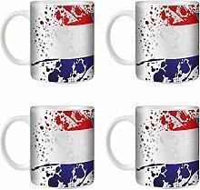 STUFF4 Tee/Kaffee Becher 350ml/4 Pack Kroatien/Flagge Splat Land/Weißkeramik/ST10