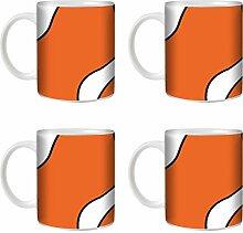 STUFF4 Tee/Kaffee Becher 350ml/4 Pack Orange/Anemonenfisch/Weißkeramik/ST10
