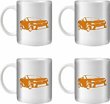 STUFF4 Tee/Kaffee Becher 350ml/4 Pack Orange/Lexus LFA/Weißkeramik/ST10