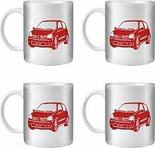 Stuff4® Tee/Kaffee Becher 350ml/4 Pack Rot/Clio Sport 182/Weißkeramik/ST10