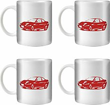 STUFF4 Tee/Kaffee Becher 350ml/4 Pack Rot/Fiat Coupé 20V Turbo/Weißkeramik/ST10