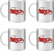STUFF4 Tee/Kaffee Becher 350ml/4 Pack Rot/Focus RS Mk1/Weißkeramik/ST10