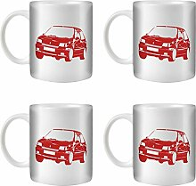 Stuff4® Tee/Kaffee Becher 350ml/4 Pack Rot/Renault Clio Williams/Weißkeramik/ST10