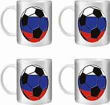 STUFF4 Tee/Kaffee Becher 350ml/4 Pack Russland/Russisch/Fußball Flagge/Weißkeramik/ST10