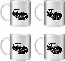 STUFF4 Tee/Kaffee Becher 350ml/4 Pack Schwarz/Clio Sport V6/Weißkeramik/ST10
