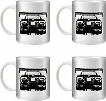 STUFF4 Tee/Kaffee Becher 350ml/4 Pack Schwarz/Viper ACR/Weißkeramik/ST10