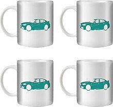 STUFF4 Tee/Kaffee Becher 350ml/4 Pack Türkis/Alfa Romeo Giulia/Weißkeramik/ST10