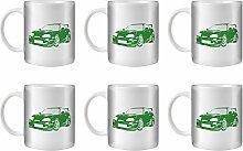 STUFF4 Tee/Kaffee Becher 350ml/6 Pack Grün/Toyota Supra/Weißkeramik/ST10