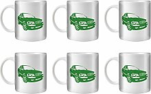 STUFF4 Tee/Kaffee Becher 350ml/6 Pack Grün/Volvo S40 T4/Weißkeramik/ST10