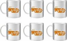 STUFF4 Tee/Kaffee Becher 350ml/6 Pack Orange/Alfa GTV6/Weißkeramik/ST10