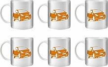 STUFF4 Tee/Kaffee Becher 350ml/6 Pack Orange/Civic Type R EP3/Weißkeramik/ST10