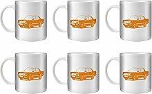STUFF4 Tee/Kaffee Becher 350ml/6 Pack Orange/M5 E28/Weißkeramik/ST10