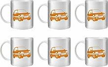 STUFF4 Tee/Kaffee Becher 350ml/6 Pack Orange/Peugeot 205 GTI/Weißkeramik/ST10