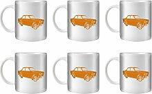 STUFF4 Tee/Kaffee Becher 350ml/6 Pack Orange/Volvo Amazon/Weißkeramik/ST10