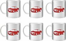 STUFF4 Tee/Kaffee Becher 350ml/6 Pack Rot/M 635 CSi E24/Weißkeramik/ST10