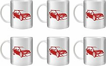 STUFF4 Tee/Kaffee Becher 350ml/6 Pack Rot/Opel Astra OPC J/Weißkeramik/ST10