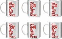 STUFF4 Tee/Kaffee Becher 350ml/6 Pack Saab/Red Text/Alte Autos/Weißkeramik/ST10