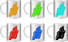 STUFF4 Tee/Kaffee Becher 350ml/6 Pack/Schablone Kunst/Motorrad/Wheelie/Weißkeramik/ST10