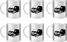STUFF4 Tee/Kaffee Becher 350ml/6 Pack Schwarz/{collectionname}=VW T5 Transporter/Weißkeramik/ST10