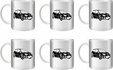 STUFF4 Tee/Kaffee Becher 350ml/6 Pack Schwarz/Focus RS Mk1/Weißkeramik/ST10
