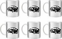 STUFF4 Tee/Kaffee Becher 350ml/6 Pack Schwarz/Ford Transit Sport/Weißkeramik/ST10