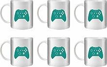 STUFF4 Tee/Kaffee Becher 350ml/6 Pack Türkis/Xbox One Controller/Weißkeramik/ST10