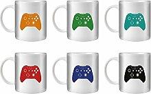 STUFF4 Tee/Kaffee Becher 350ml/6 Pack/Xbox One Controller/Weißkeramik/ST10