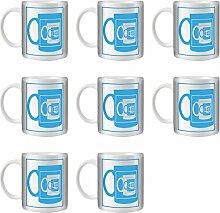 STUFF4 Tee/Kaffee Becher 350ml/8 Pack Blau/Spiegel Becher Illusion/Weißkeramik/ST10